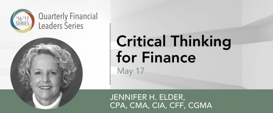 Quarterly Financial Leaders Series – Critical Thinking for Finance